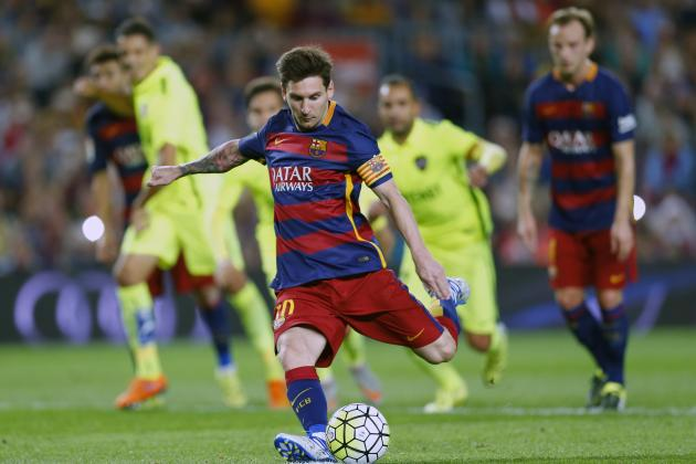 Lionel Messi Kicking a Penalty Kick During the Match Against Levante