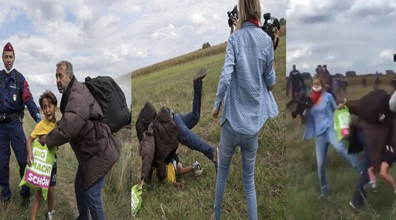 camerawoman trips refugees in hungary
