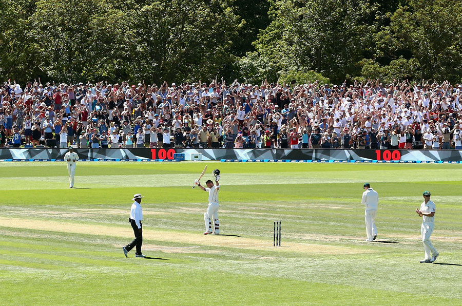 McCullum celebrating after completing Record-Breaking Ton