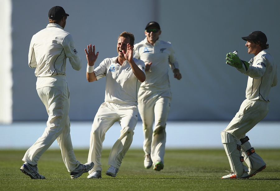 Neil Wagner celebrating after picking a wicket
