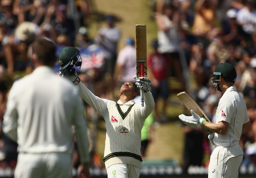 Usman Khawaja after completing his first overseas century