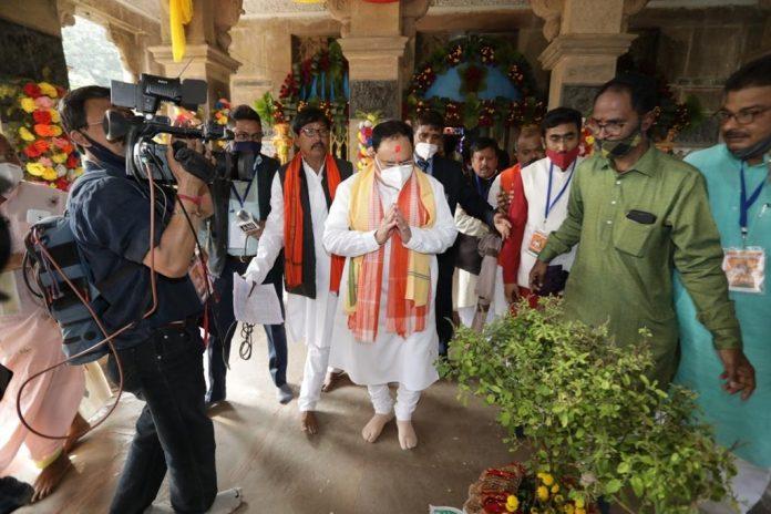 BJP President JP Nadda visits Radha Gobind temple in West Bengal